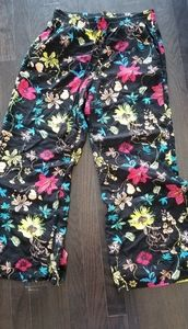 H&M wide leg flowy floral tassel pants